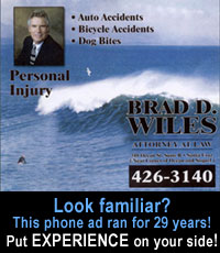 Early Santa Cruz phone directory phone ad for Brad Wiles, personal injury attorney